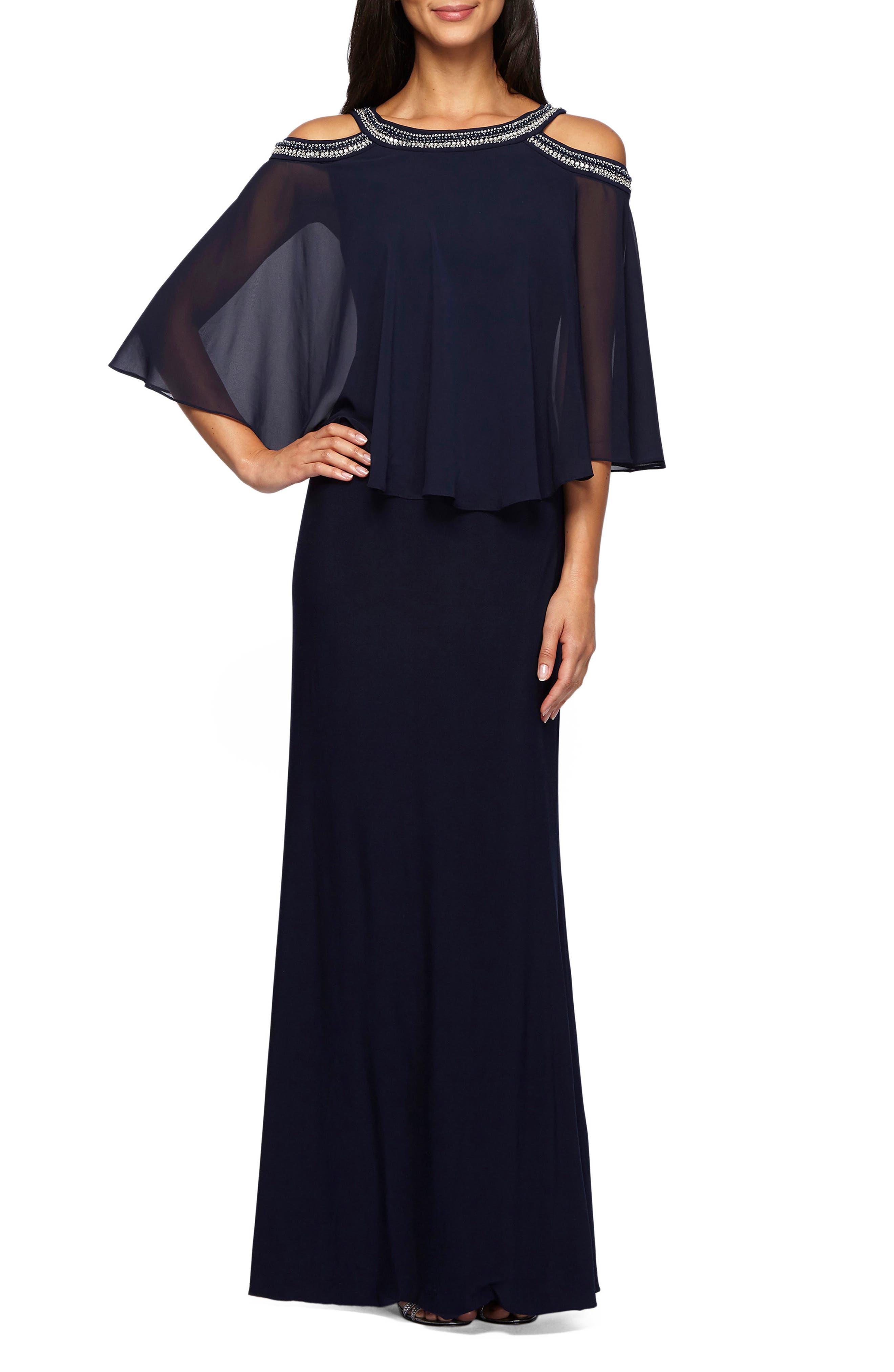 70s Prom, Formal, Evening, Party Dresses Womens Alex Evenings Cold Shoulder Popover Dress Size 16 - Blue $209.00 AT vintagedancer.com