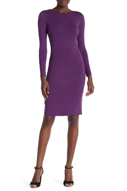 Image of Velvet Torch Long Sleeve Bodycon Midi Dress