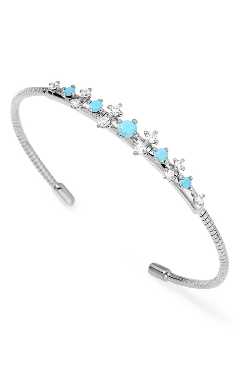 NADRI Stone Accent Flex Cuff Bracelet, Main, color, RHODIUM/ CUBIC ZIRCONIA