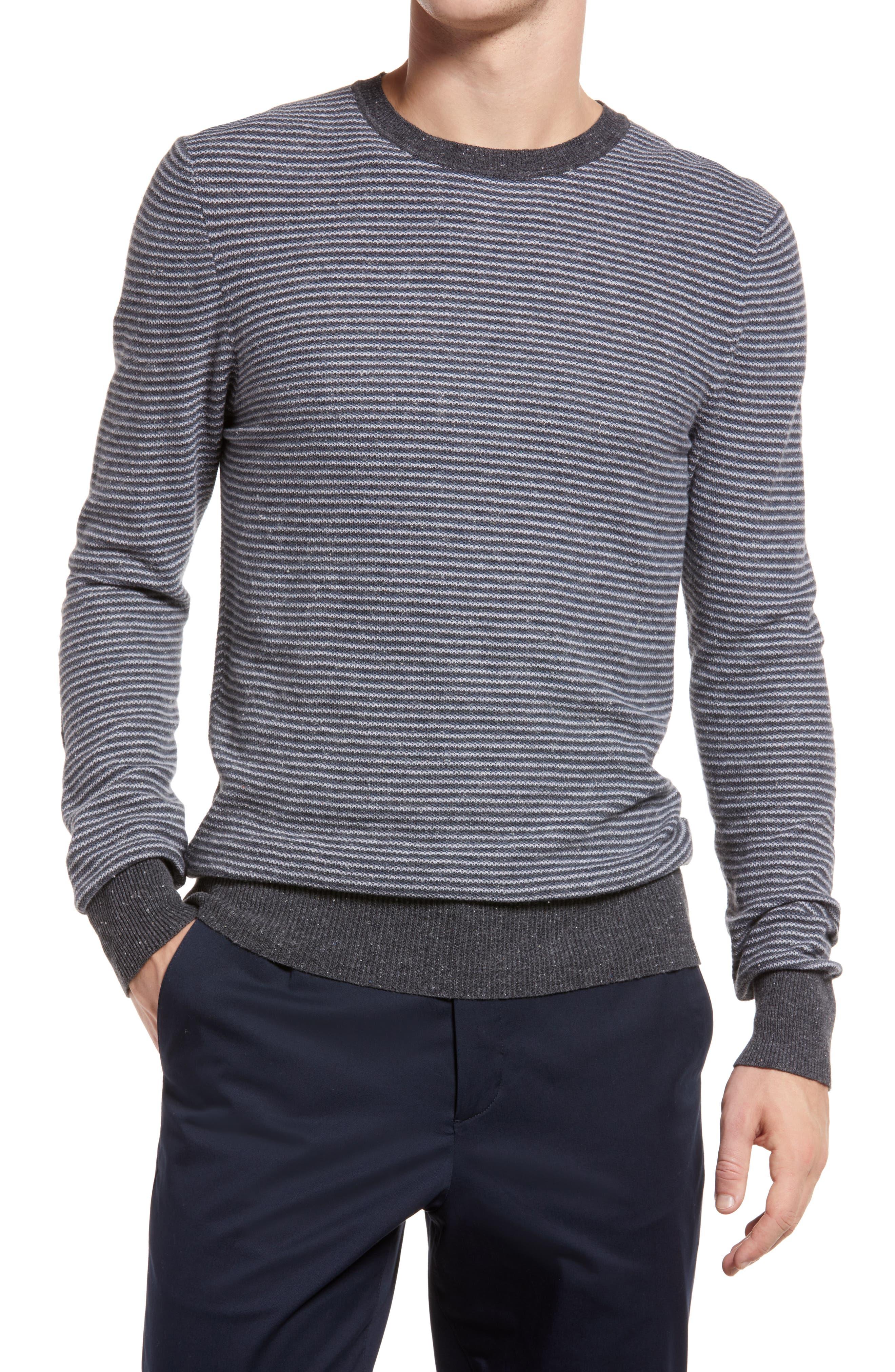 Stripe Cotton Pique Crewneck Sweater