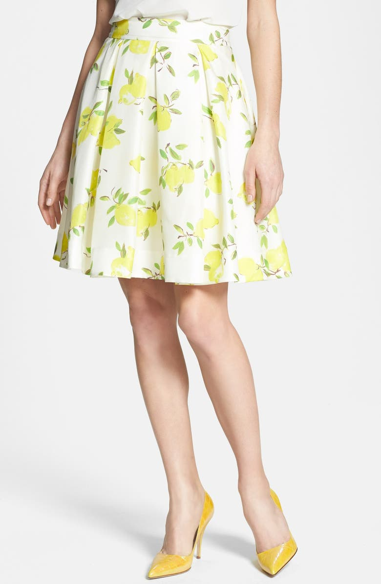 KATE SPADE NEW YORK 'owen' print silk skirt, Main, color, 700