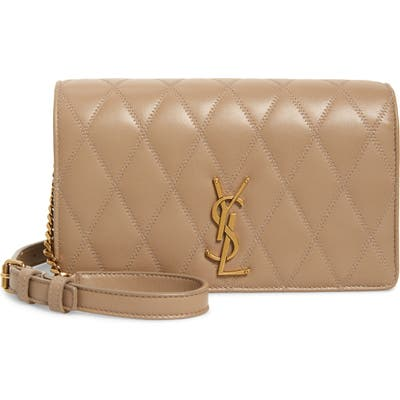 Saint Laurent Angie Quilted Lambskin Leather Crossbody Bag - Beige