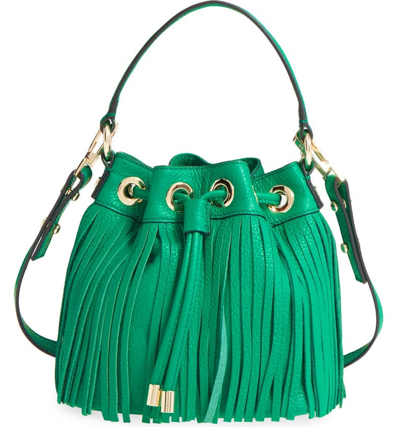 MILLY Fringed Leather Bucket Bag, Main, color, 300