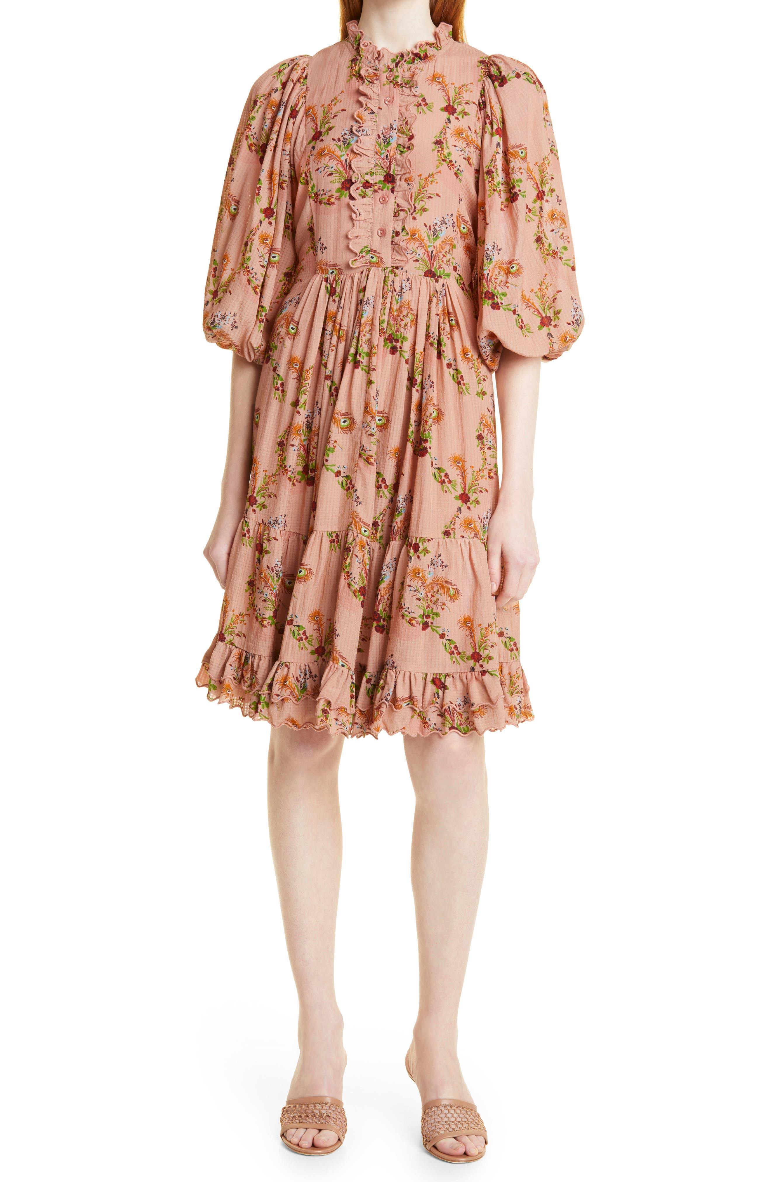 Floral Dobby Textured Ruffle Puff Sleeve Dress