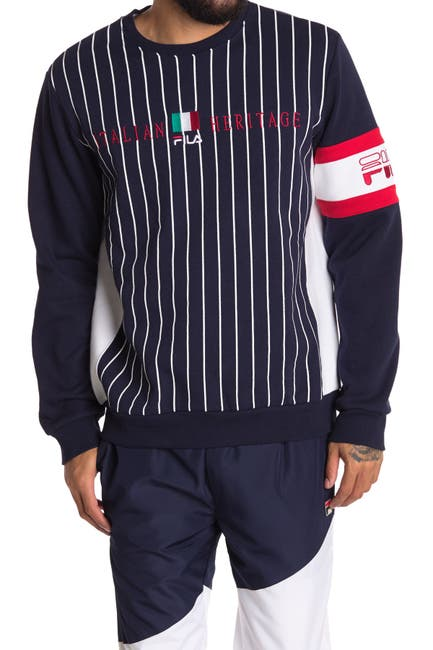 Image of FILA USA Mikkel Stripe Crew Neck Sweatshirt