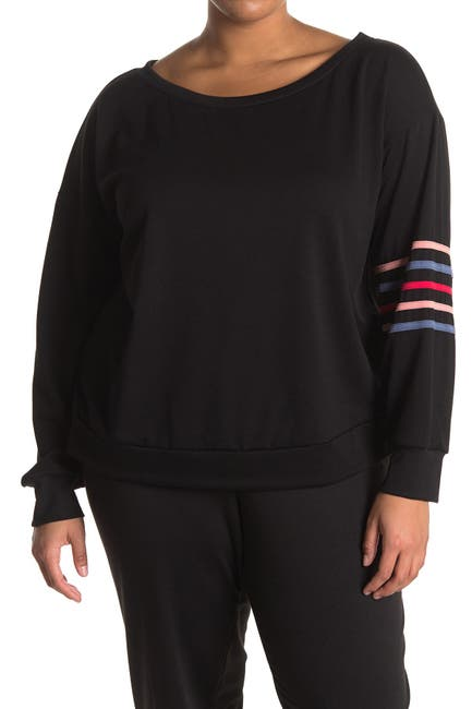 Image of Knit Riot Off Shoulder Sweatshirt with Piping