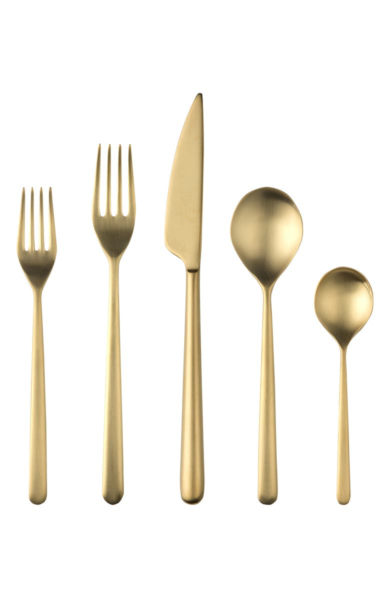 MEPRA Linea Ice 5-Piece Place Setting, Main, color, BRUSHED STAINLESS GOLD