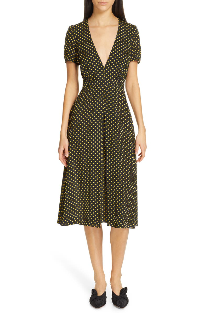 N°21 Nº21 Plunging Polka Dot Midi Dress, Main, color, 001
