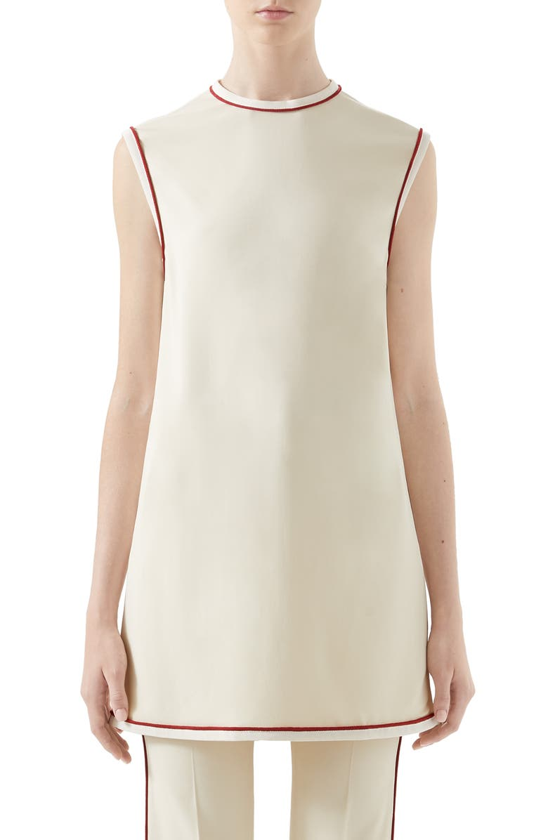 GUCCI Piped Stretch Cady Tunic Top, Main, color, GARDENIA/ MIX