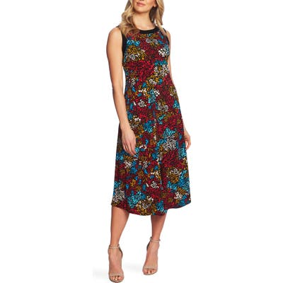 Chaus Floral Print Sleeveless Midi Dress, Black