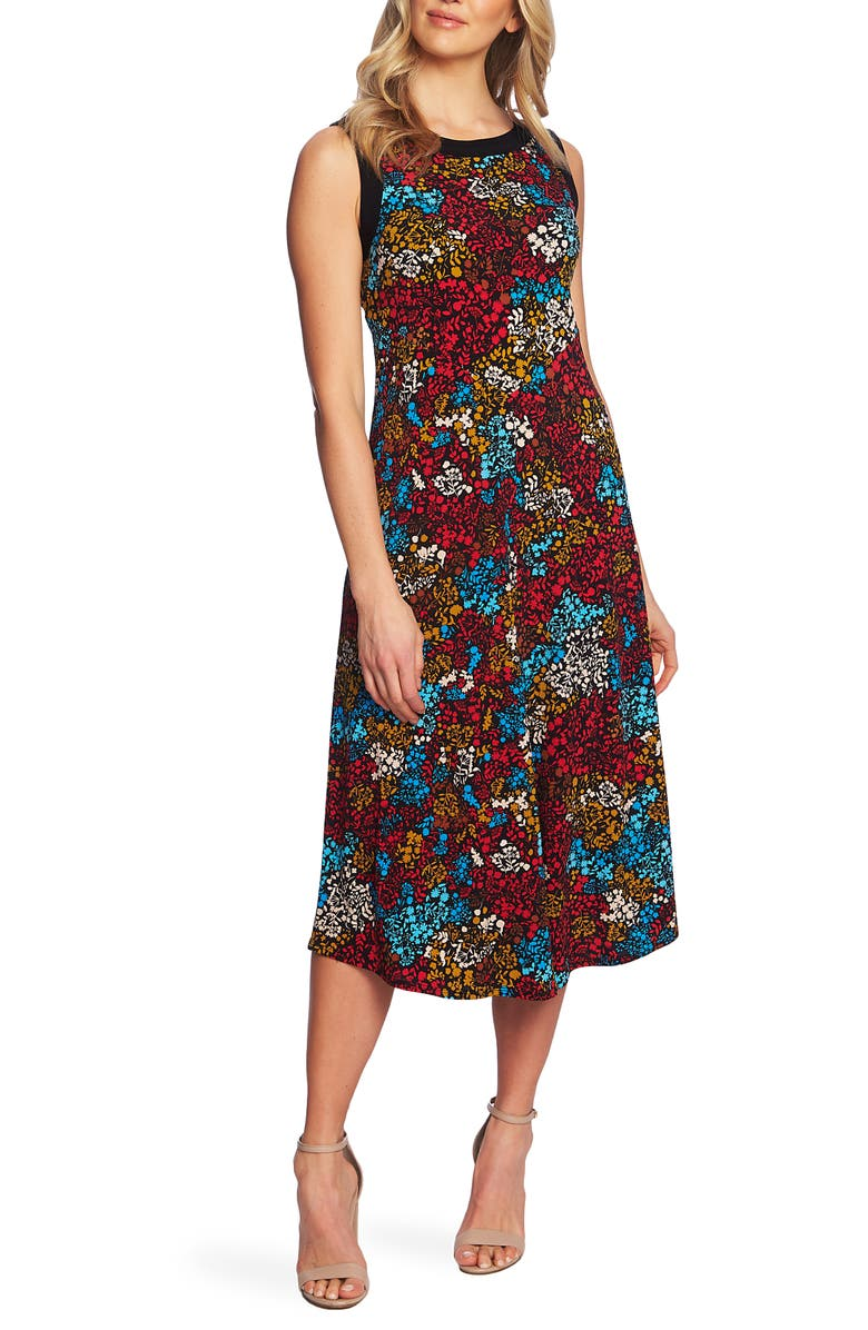 Chaus Floral Print Sleeveless Midi Dress