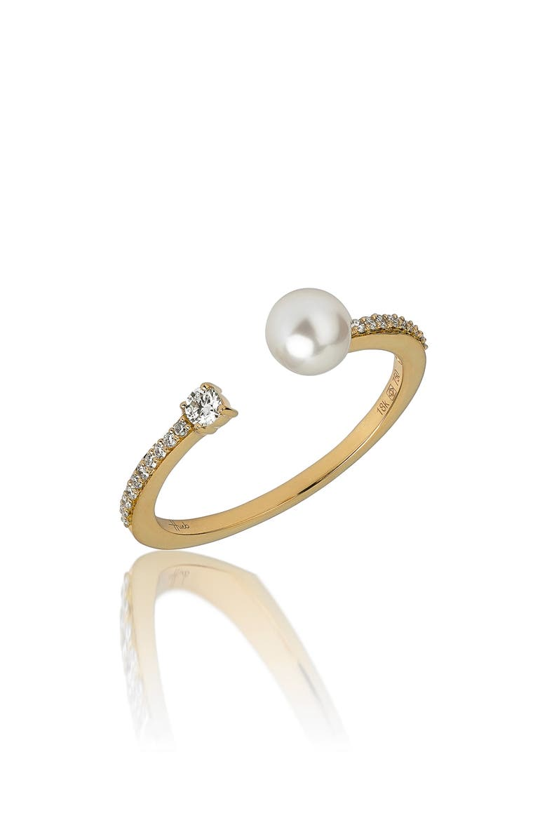 HUEB Spectrum Pearl & Diamond Ring, Main, color, YELLOW GOLD