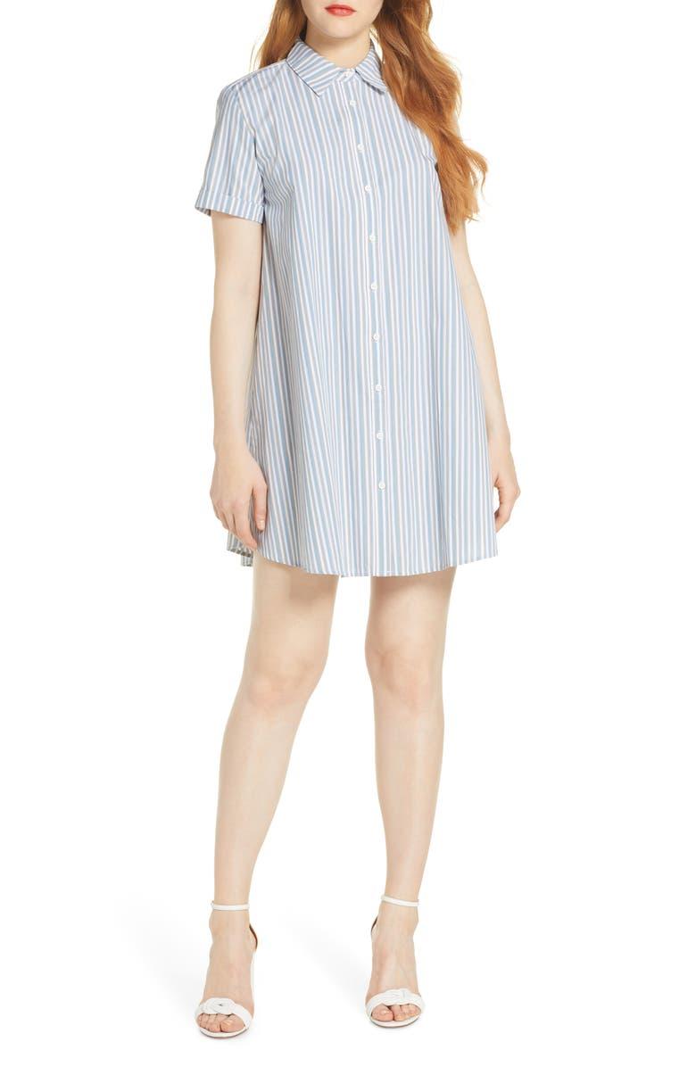 BB DAKOTA Stripe A Personality Shirtdress, Main, color, CHAMBRAY