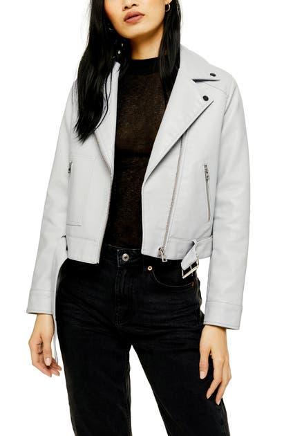 ea12e6c44 Kota Crop Faux Leather Moto Jacket in Light Grey