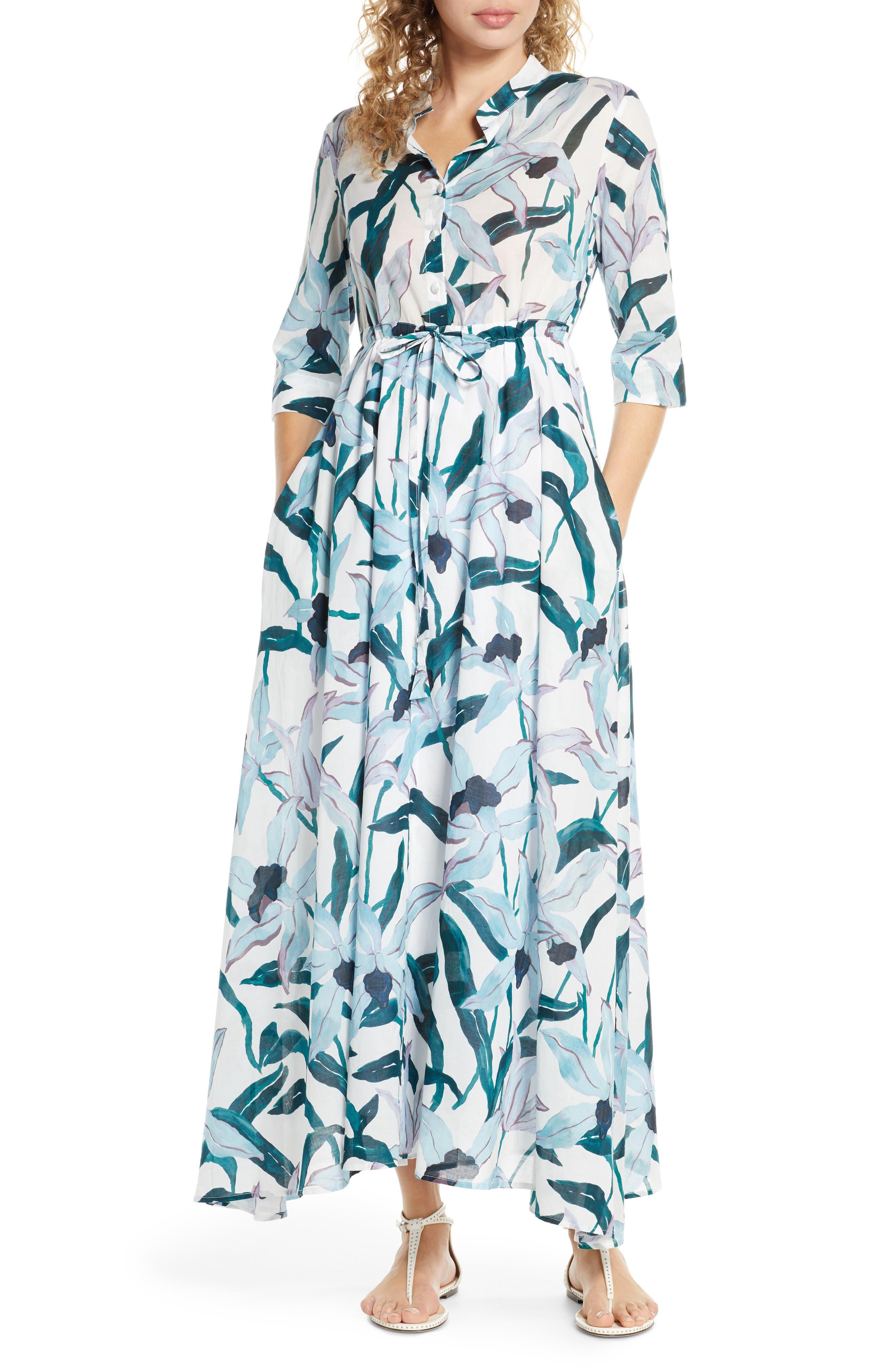 Tory Burch Print Cover-Up Maxi Shirtdress, Blue