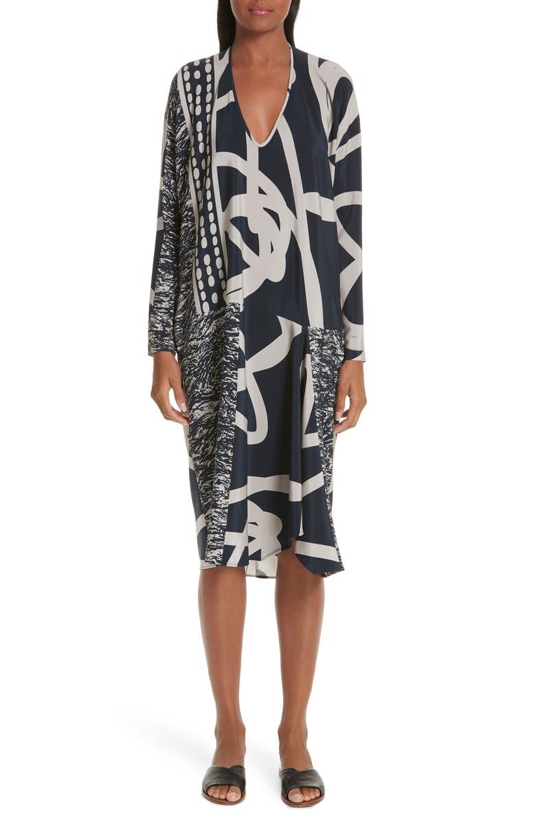 ZERO + MARIA CORNEJO Greige Print Stretch Silk Dress, Main, color, 400