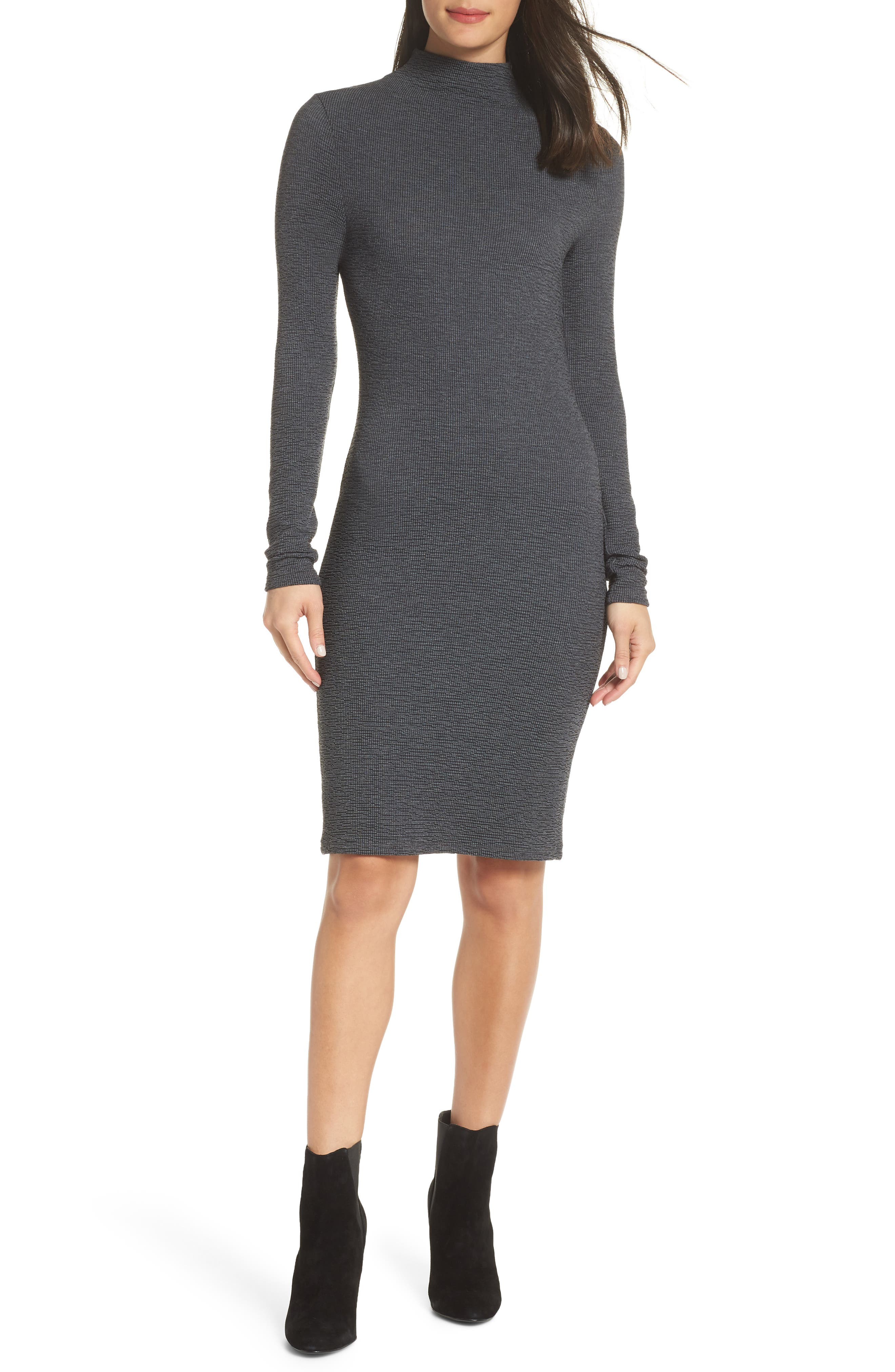 French Connection Petra Textured Rib Body-Con Dress, Black
