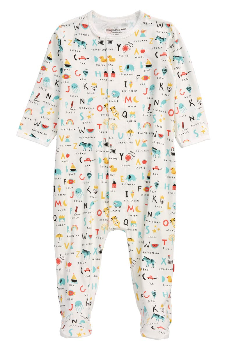 MAGNETIC ME ABC Love Fitted One-Piece Pajamas, Main, color, White