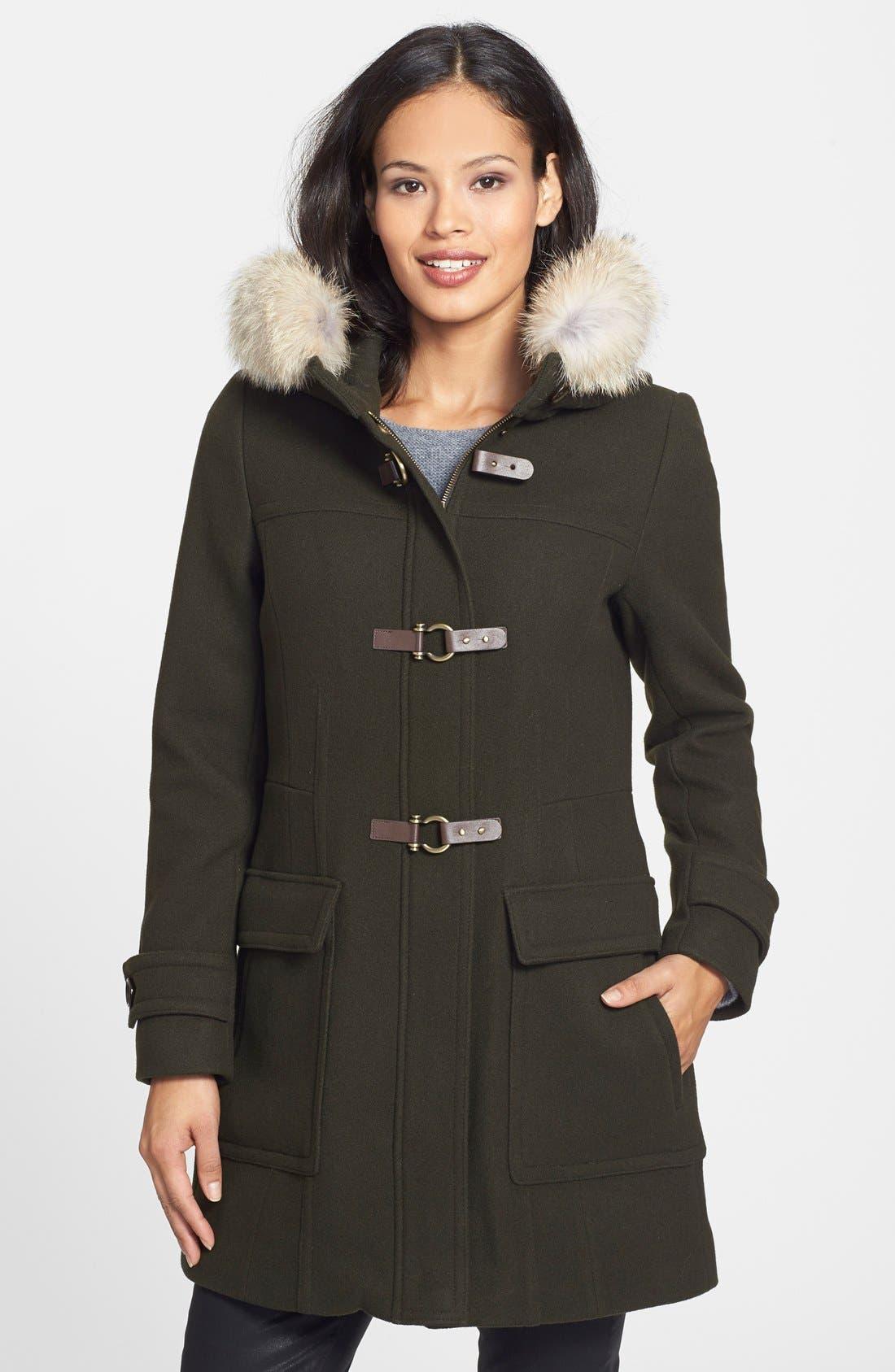,                             Genuine Coyote Fur Trim Wool Blend Duffle Coat,                             Main thumbnail 12, color,                             300