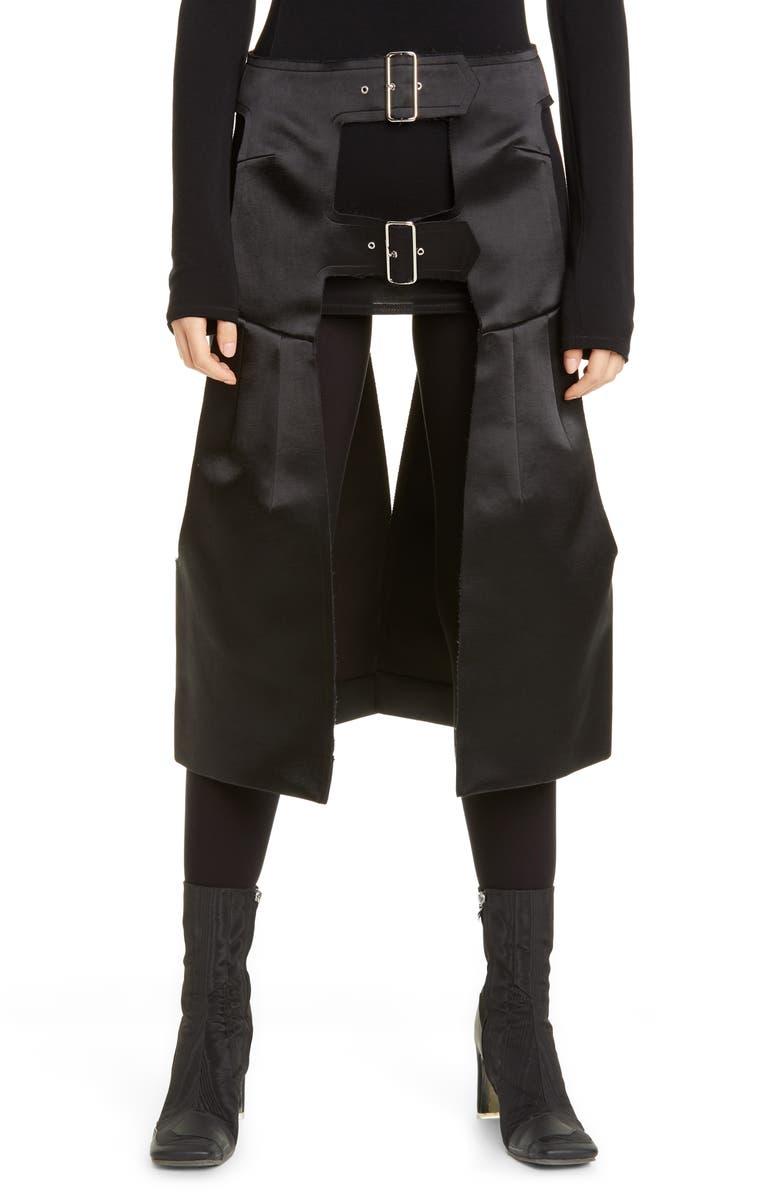 COMME DES GARÇONS Harness Detail Open Satin Skirt, Main, color, 001