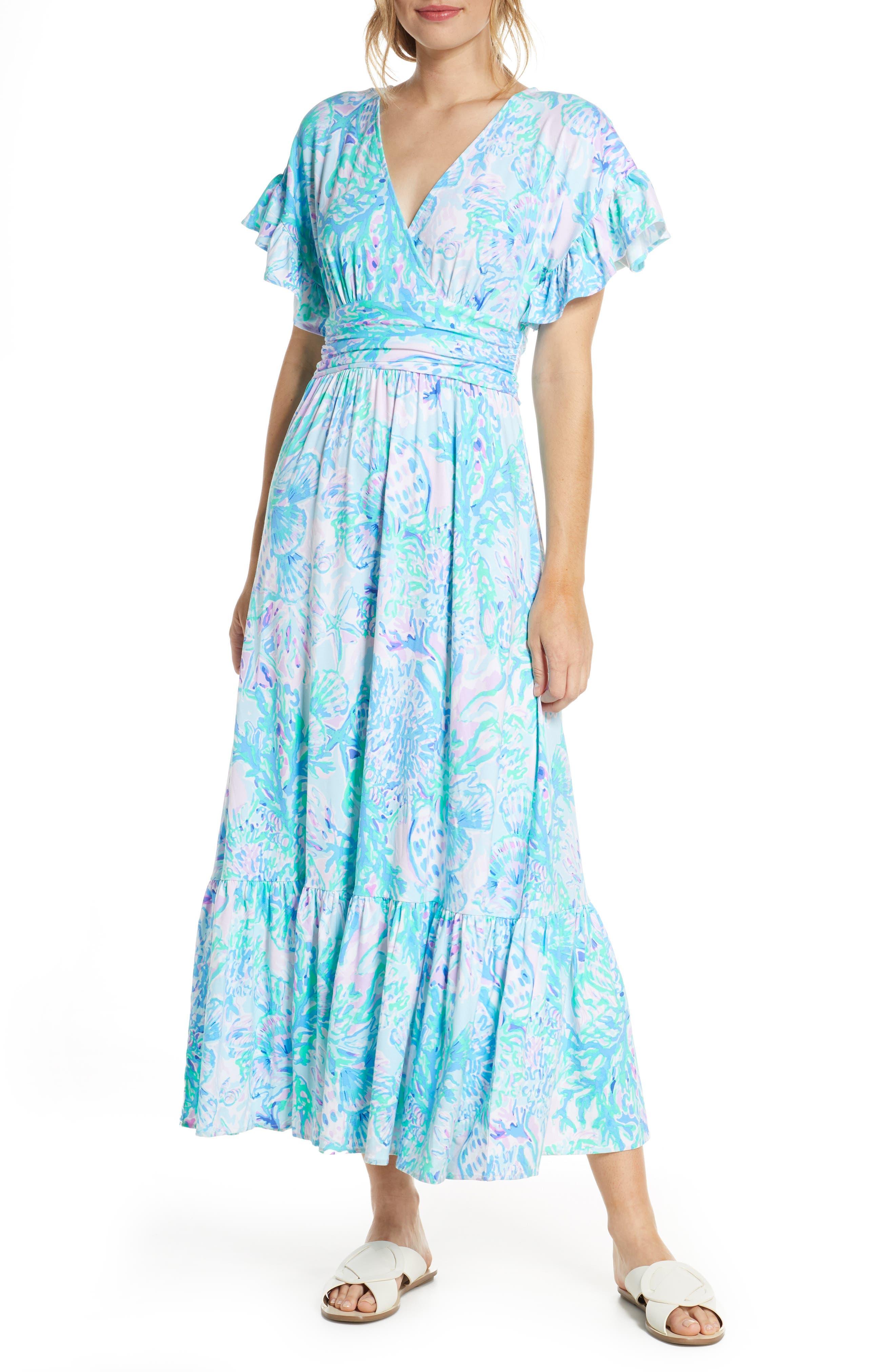 Lilly Pulitzer Jessi Flutter Maxi Dress, Purple