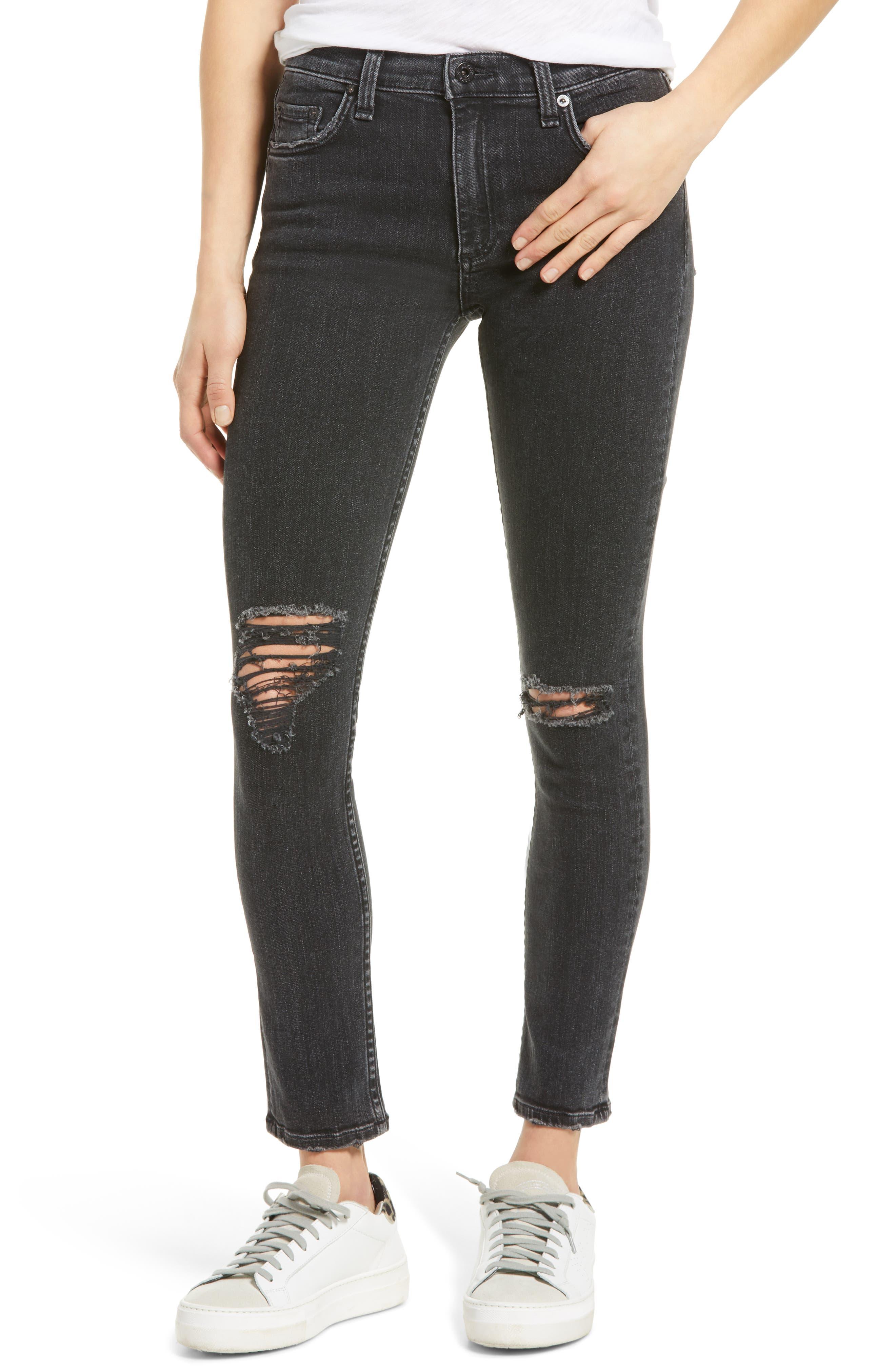 Jax High Waist Ripped Ankle Skinny Jeans