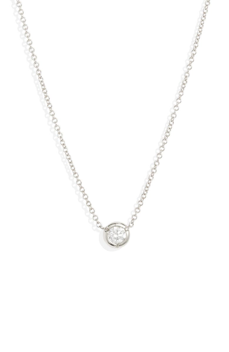 BONY LEVY Small Bezel Diamond Solitaire Necklace, Main, color, WHITE GOLD/ DIAMOND