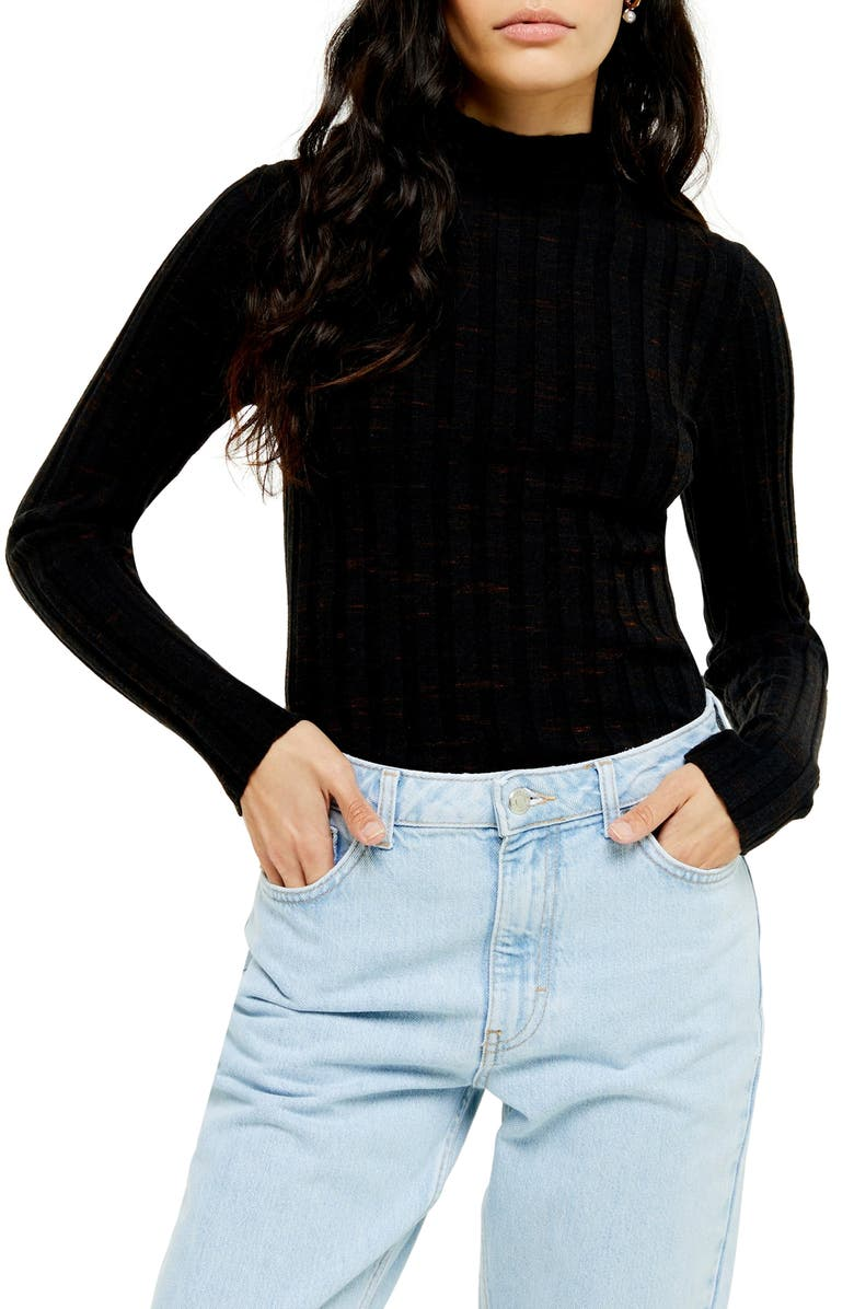 TOPSHOP Marled Ribbed Funnel Neck Sweater, Main, color, BLACK