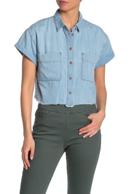 Image of Good American The Boxy Denim Crop Shirt