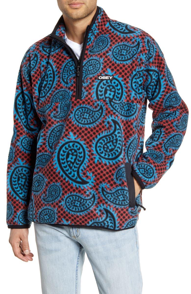 OBEY Eisley Half Zip Fleece Pullover, Main, color, 607