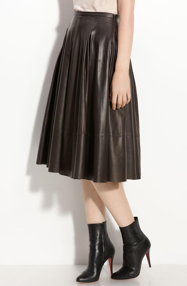 ROBERT RODRIGUEZ Leather Midi Skirt, Main, color, 200