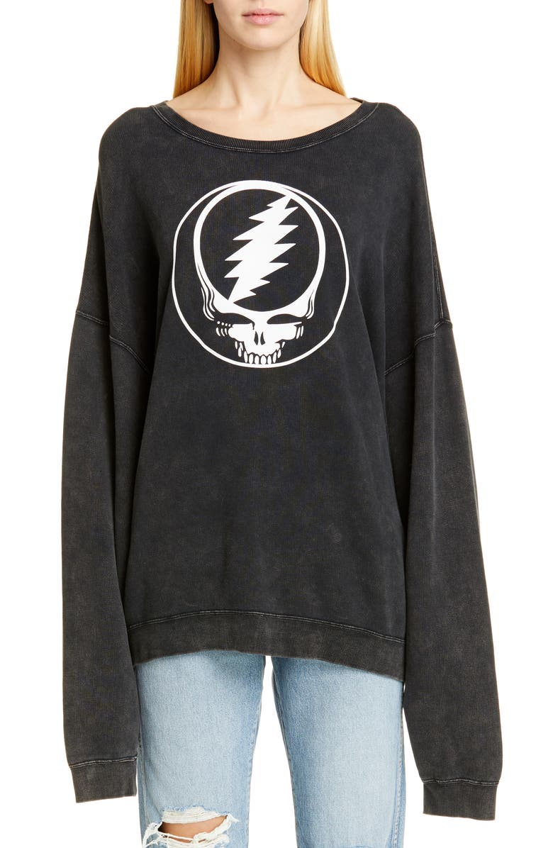 R13 Steal Your Face Oversized Graphic Sweatshirt, Main, color, 001