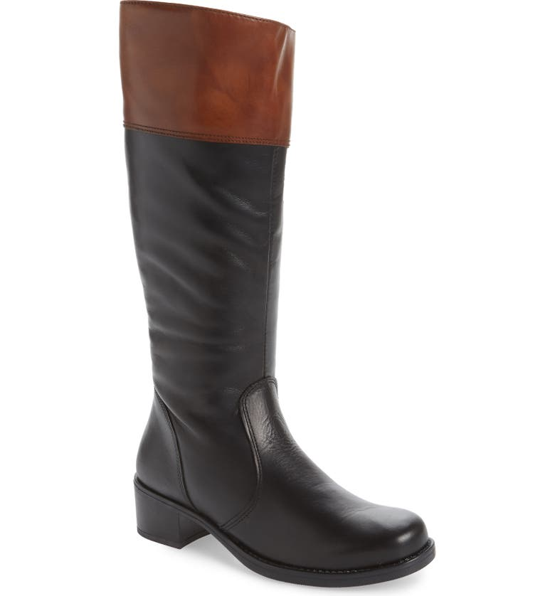 DAVID TATE Riding Boot, Main, color, BLACK/ LUGGAGE LEATHER