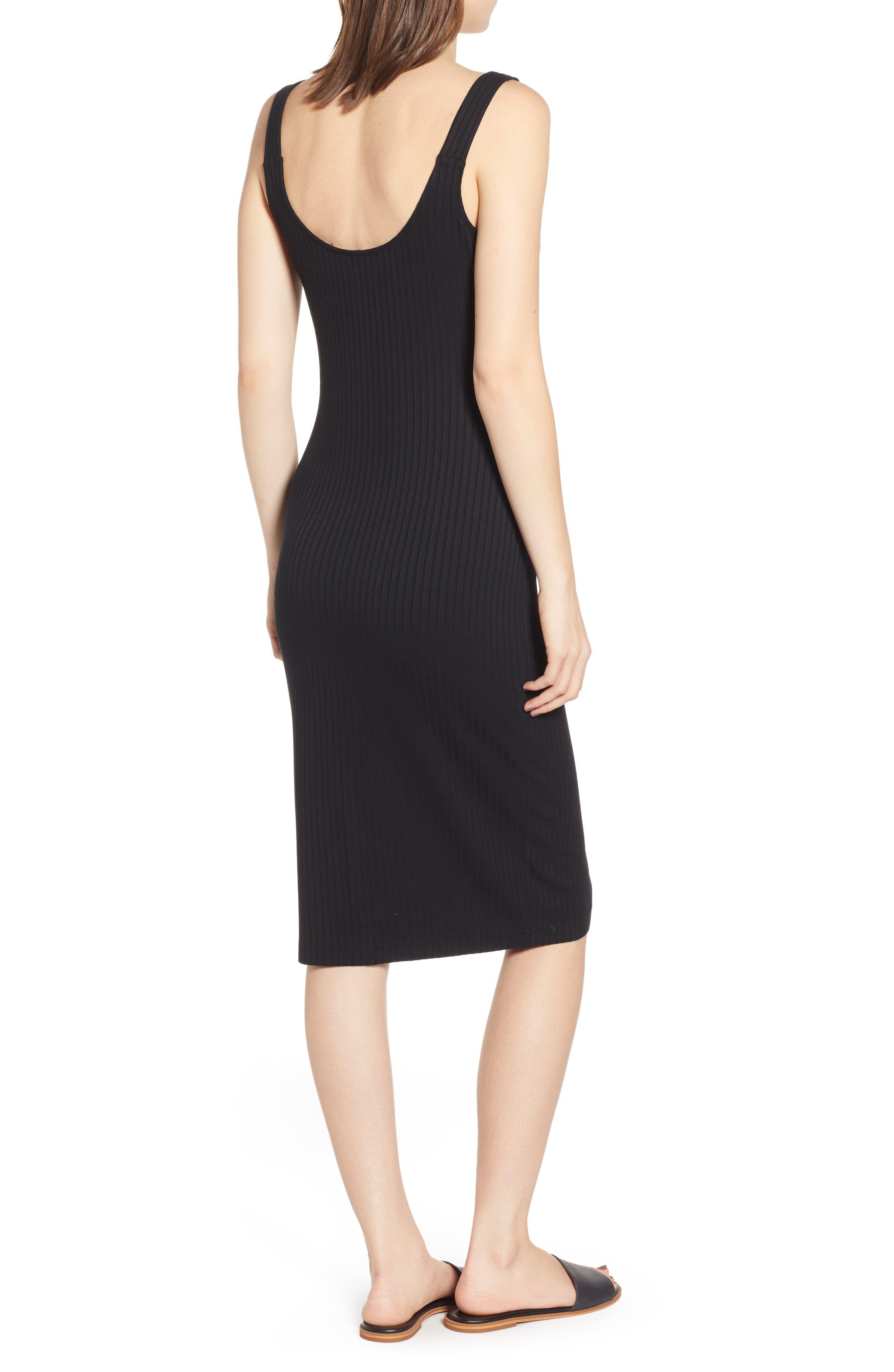 ,                             Button Front Midi Dress,                             Alternate thumbnail 2, color,                             BLACK