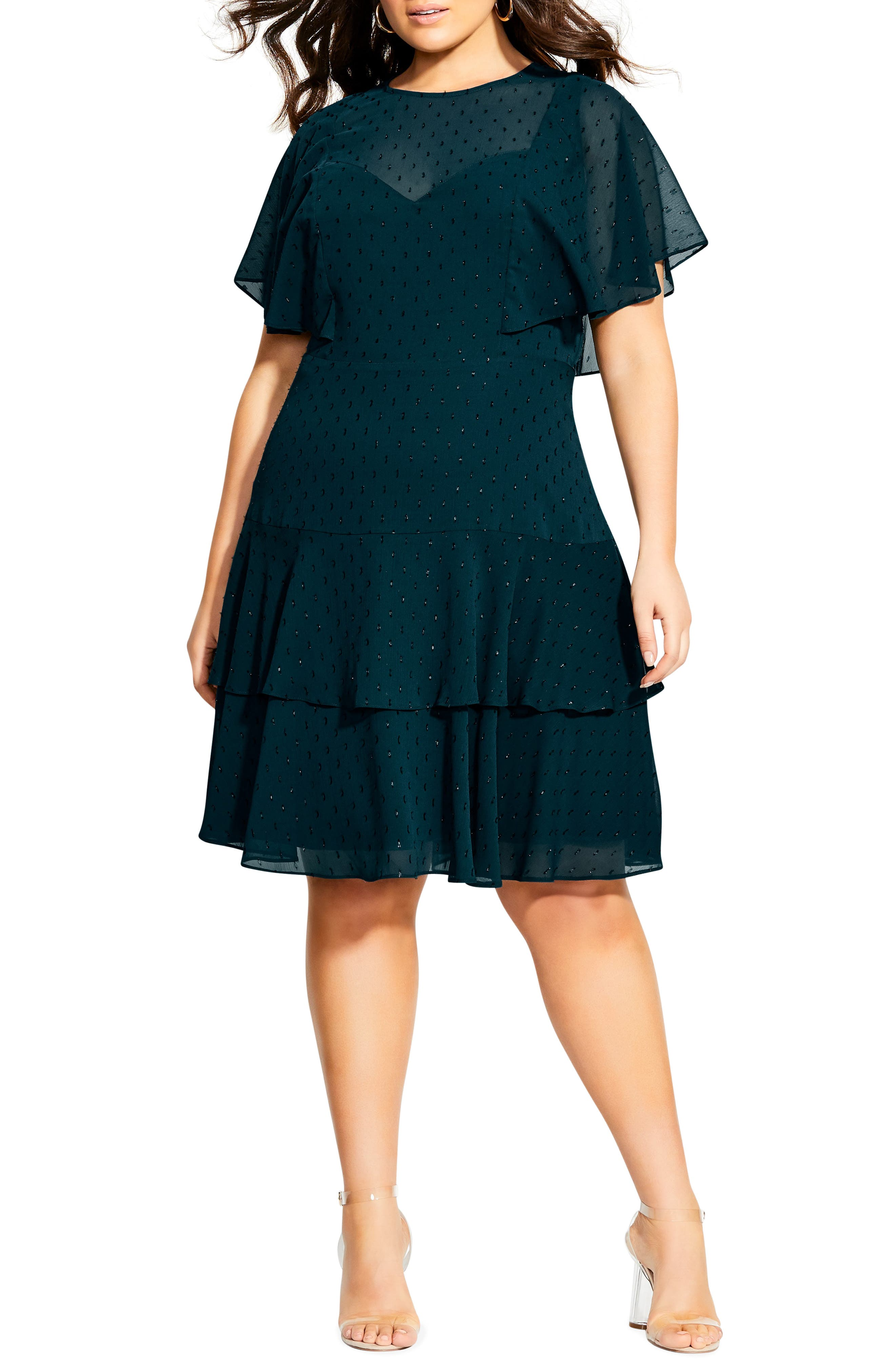 1920s Plus Size Flapper Dresses, Gatsby Dresses, Flapper Costumes Plus Size Womens City Chic Metallic Textured Dot Ruffle Dress $79.73 AT vintagedancer.com