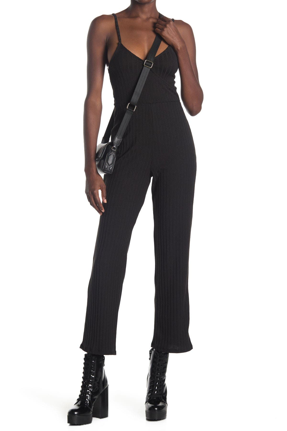 Image of Velvet Torch V-Neck Ribbed Jumpsuit