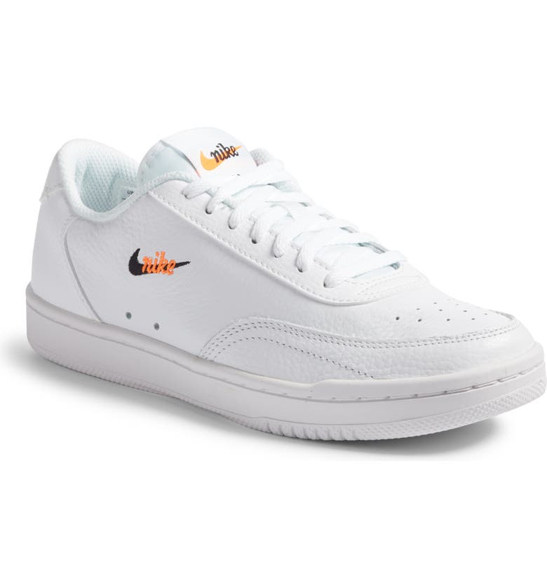 NIKE Court Vintage Premium Sneaker, Main, color, WHITE/BLACK-TOTAL ORANGE