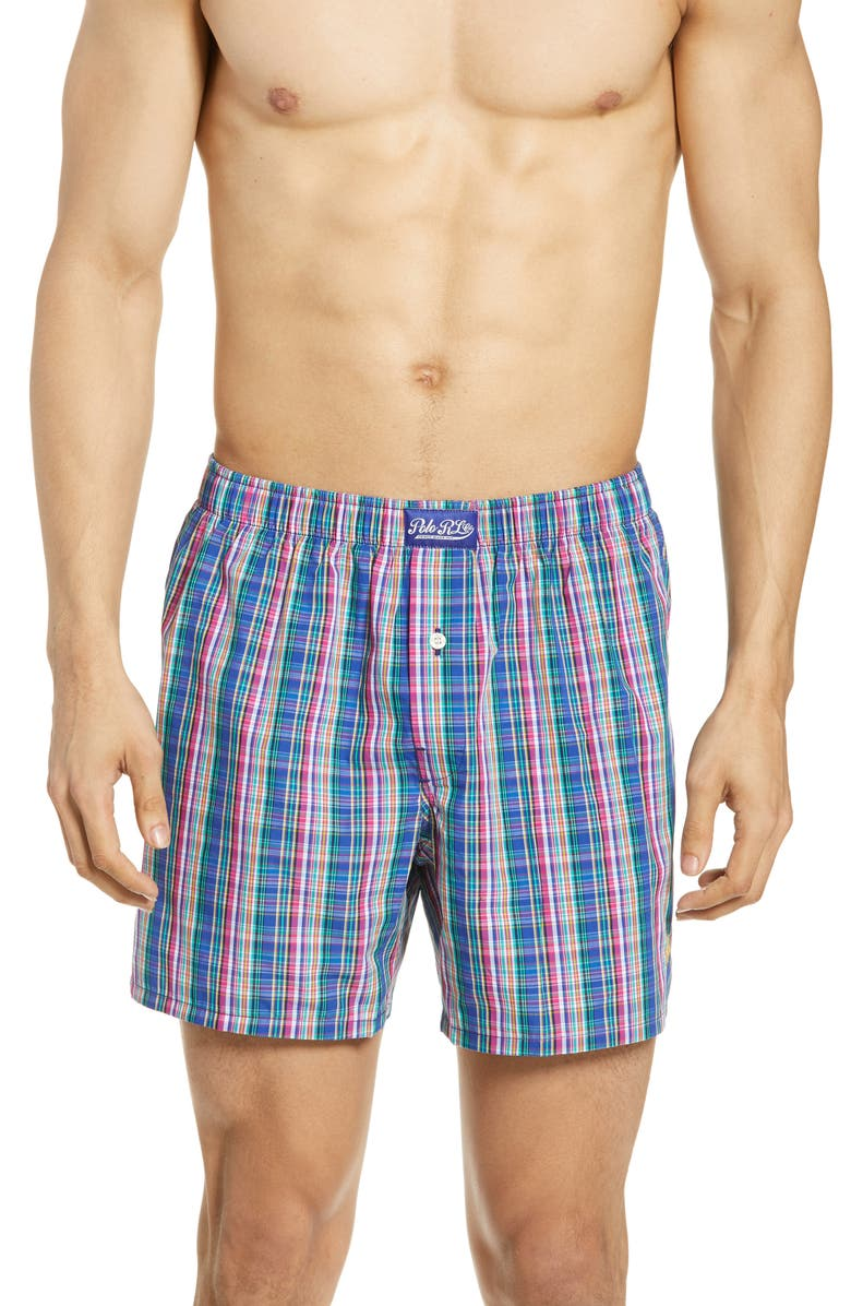 POLO RALPH LAUREN Plaid Hanging Boxers, Main, color, MULTI BLUE/ GREEN/ PINK