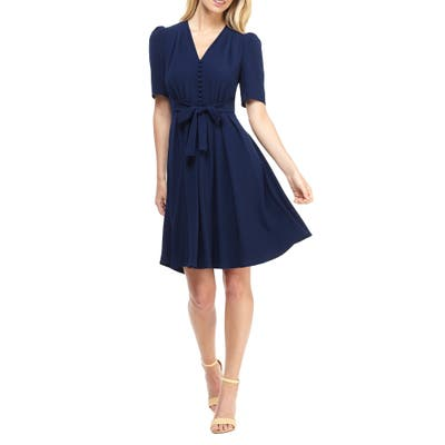 Gal Meets Glam Collection Bella Button Front Fit & Flare Dress, Blue