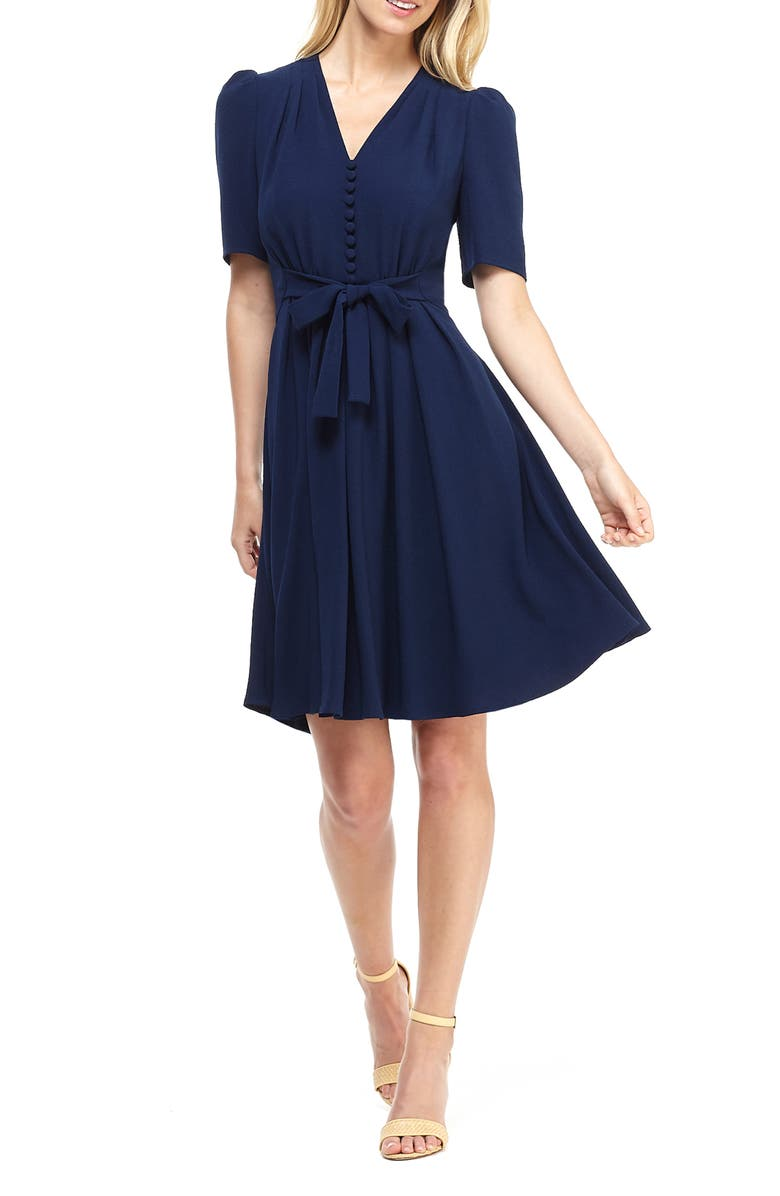 GAL MEETS GLAM COLLECTION Bella Button Front Fit & Flare Dress, Main, color, MOON LAKE