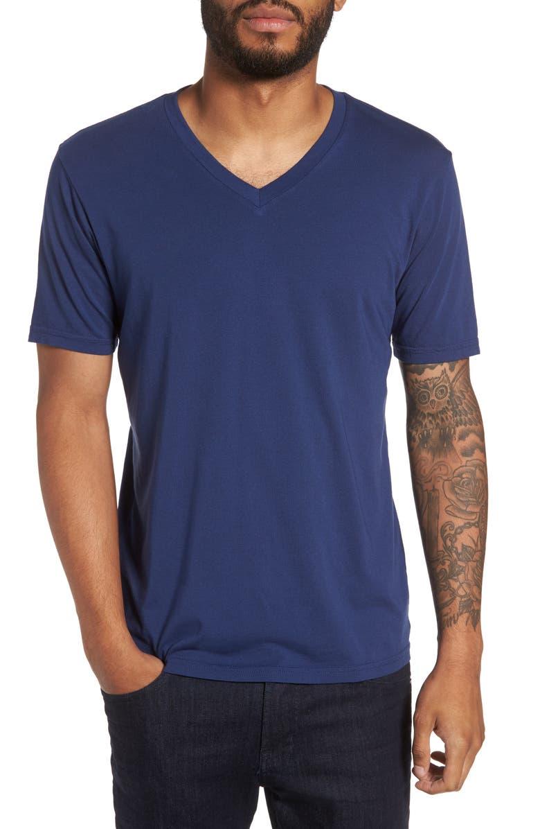 GOODLIFE Classic Supima Cotton Blend V-Neck T-Shirt, Main, color, GOODLIFE NAVY
