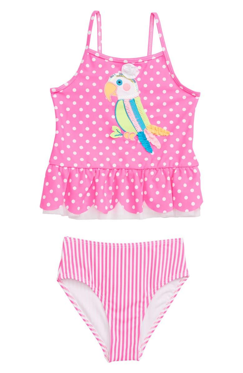 FLAPDOODLES Parrot Appliqué Polka Dot Tankini Two-Piece Swimsuit, Main, color, MALIBU PINK