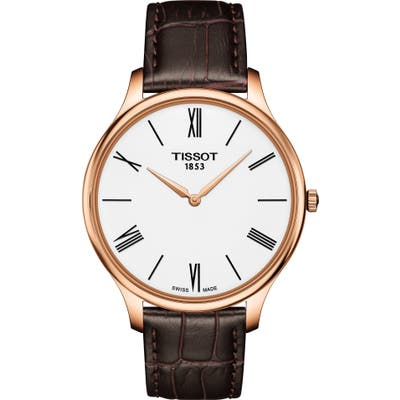 Tissot Tradition 5.5 Round Leather Strap Watch,