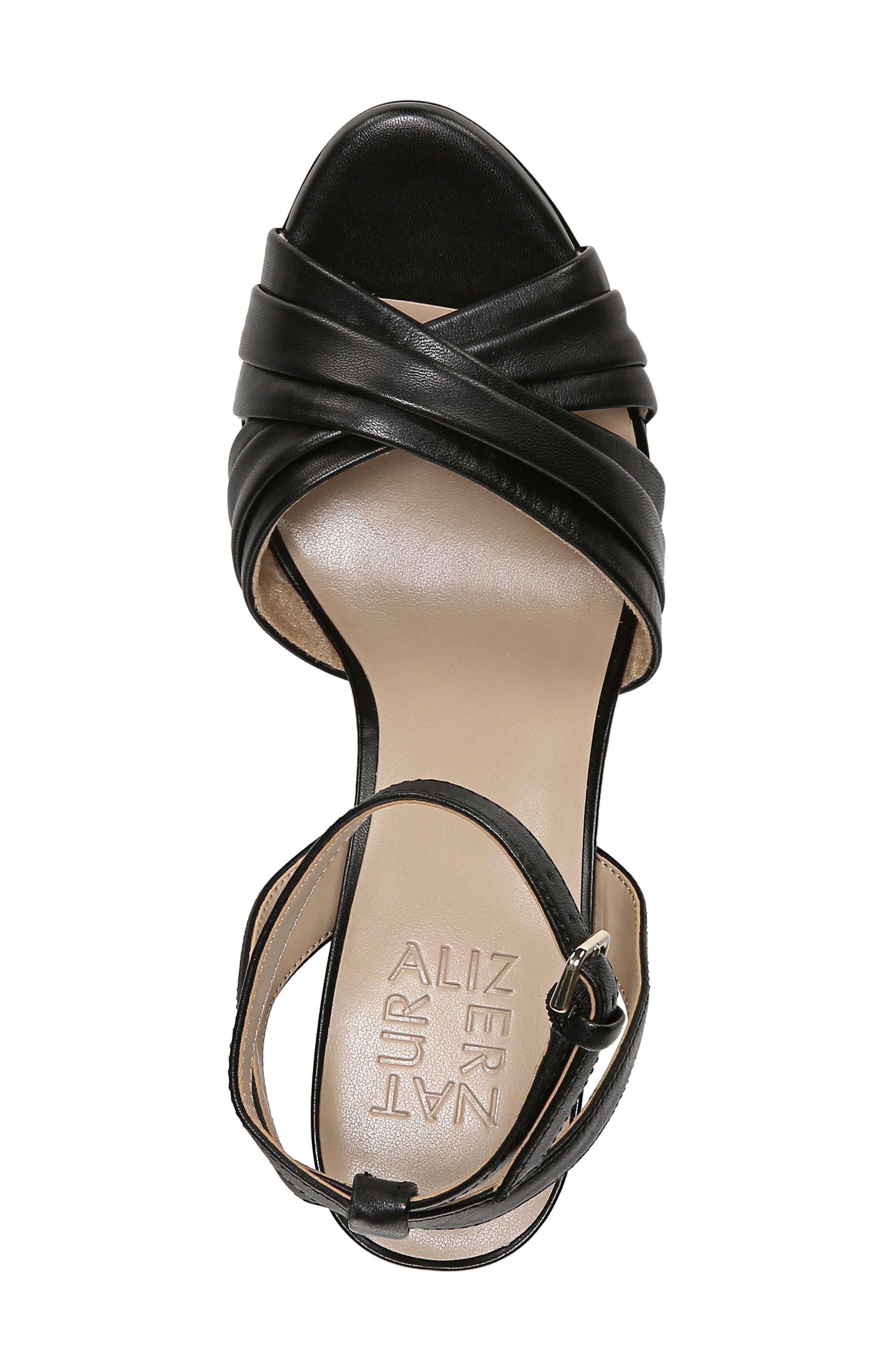 ,                             Avril Ankle Strap Sandal,                             Alternate thumbnail 5, color,                             BLACK LEATHER
