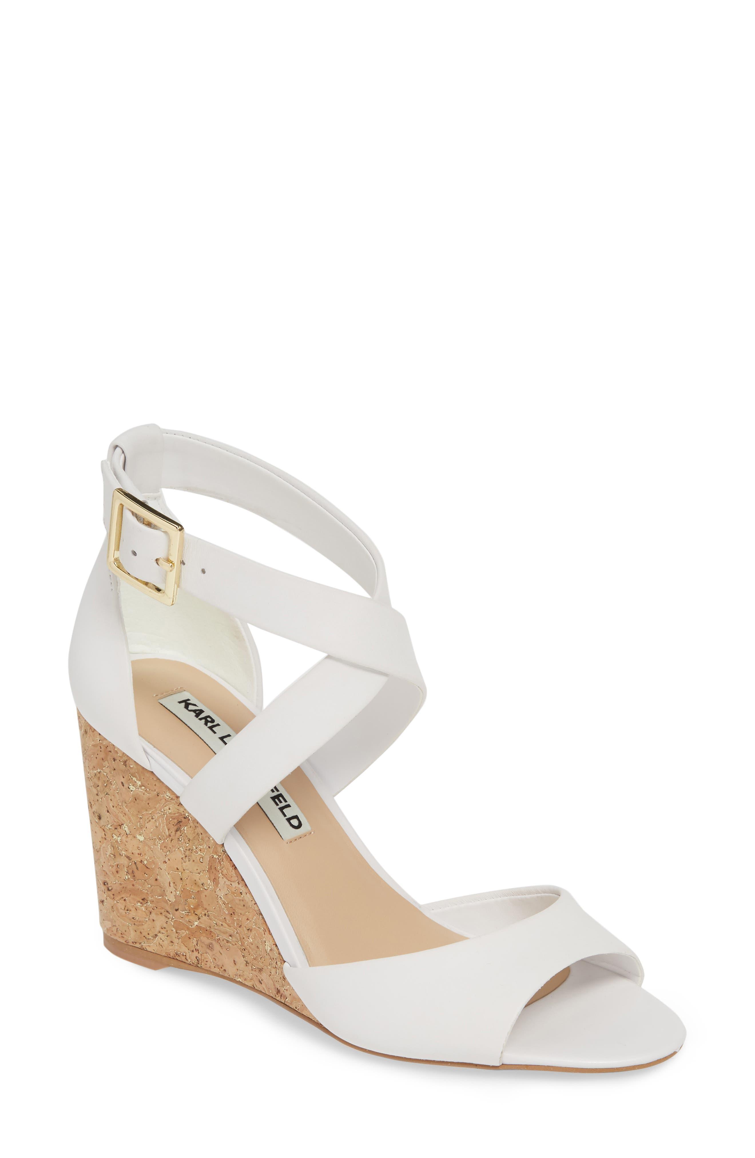 Karl Lagerfeld Paris Radka Wedge Sandal- White