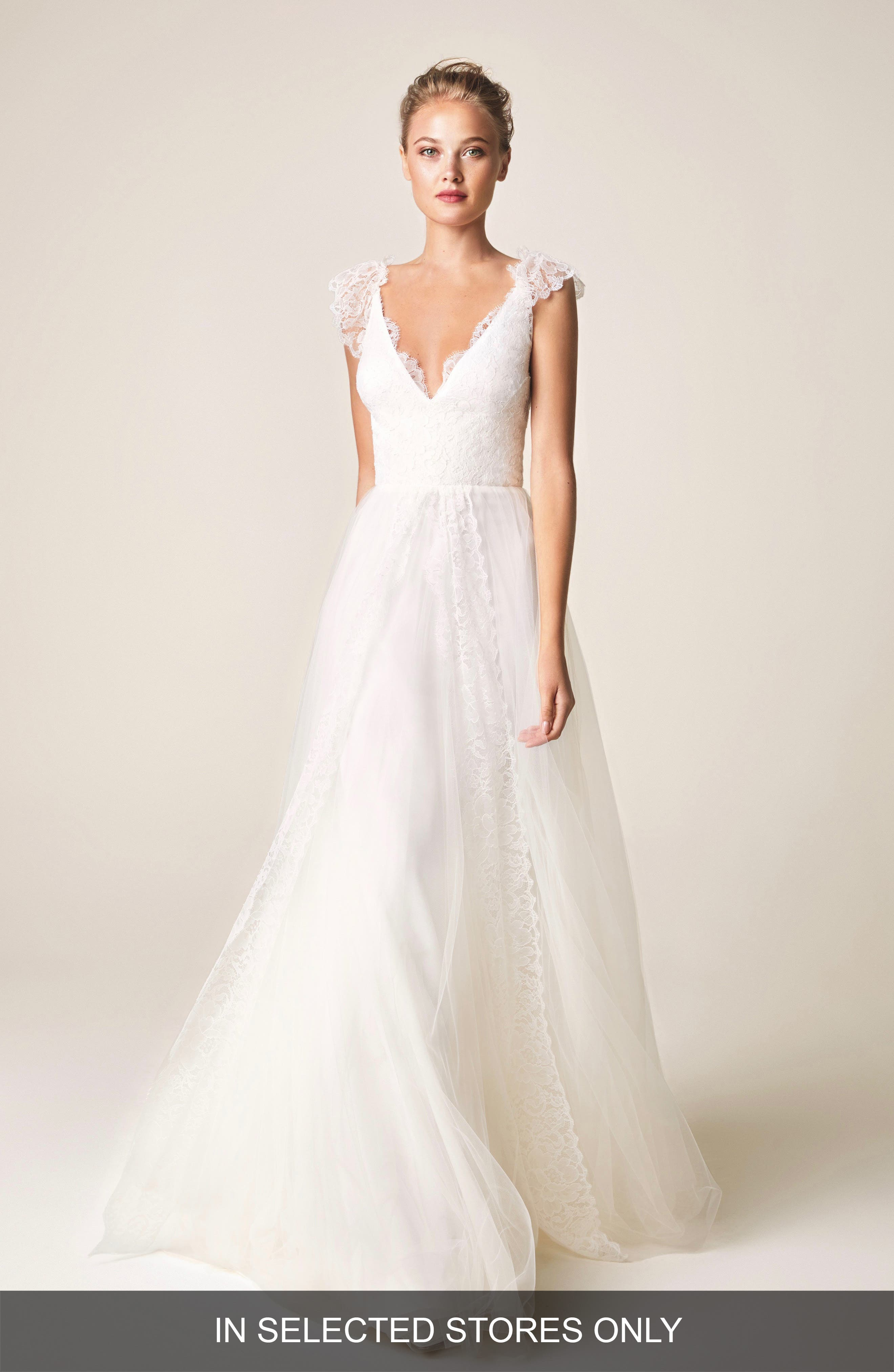 Jesus Peiro V-Neck Cap Sleeve Wedding Dress, Size IN STORE ONLY - Ivory