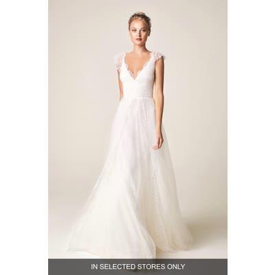 Jesus Peiro V-Neck Cap Sleeve Wedding Dress, Size IN STORE ONLY - Ivory