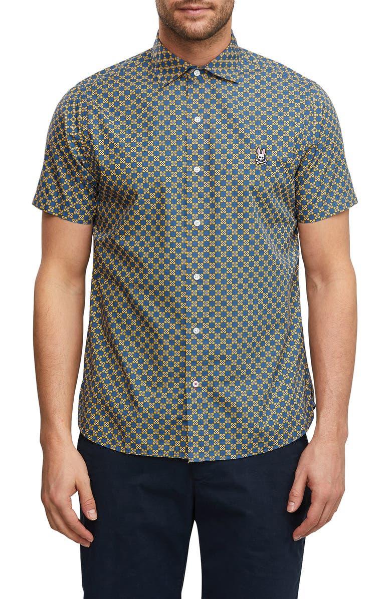 PSYCHO BUNNY Ouse Woven Shirt, Main, color, BERMUDA