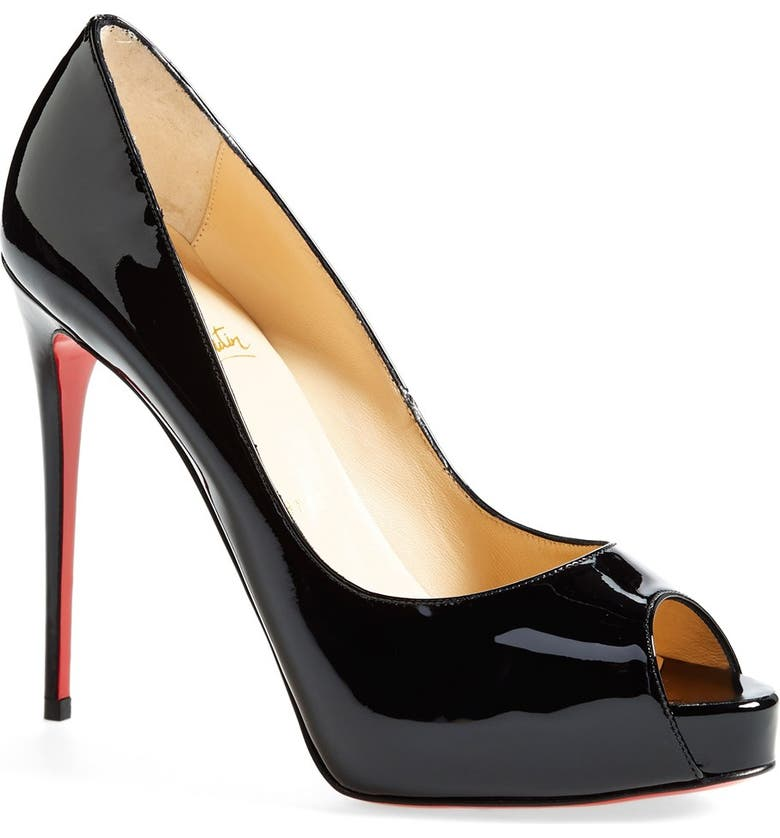CHRISTIAN LOUBOUTIN 'Prive' Open Toe Pump, Main, color, BLACK