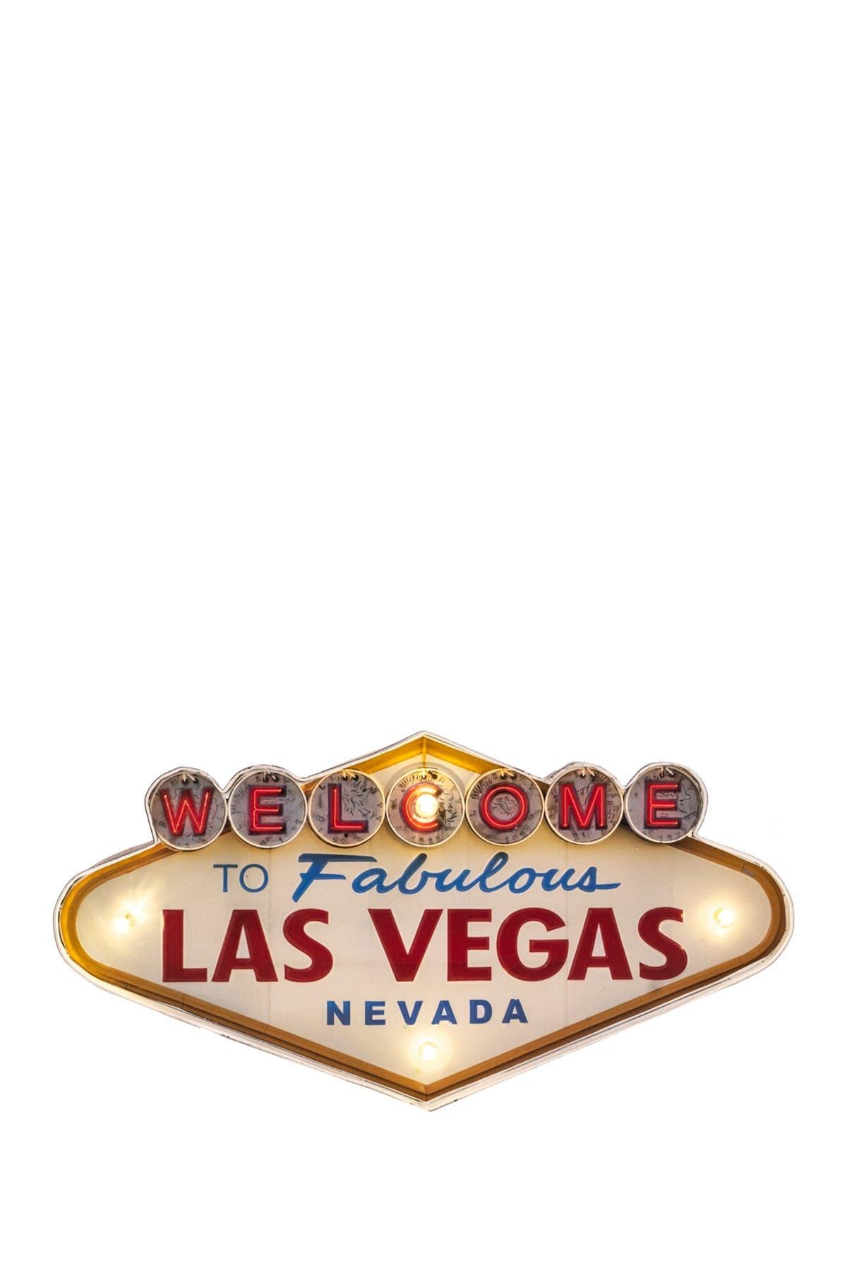 Image of Bey-Berk Multi LED Lit Welcome to Las Vegas Wall Decor